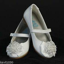 Girls WHITE Dress Shoes FLATS Ribbon & Crystal Bow TODDLER Size 3, 4, 5, 6, 7, 8