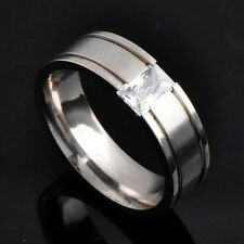 SZ 7-10 Mens Womens Stainless Steel Ring Band gemstone rings