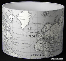 Hand Made Grey Maps Design Lampshade