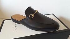 NIB Gucci Princeton Leather Black Loafers Mules Shoes Flats