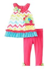Rare Editions Chevron Pattern Easter Basket Tunic and Leggings Set