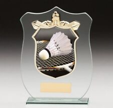 Titans Badminton glass trophy in 4 Sizes Free Engraving upto 30 Letters