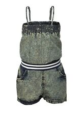 NEW Girls Hearts Bleach Wash Denim All in One Shorts Playsuit x 1 (Shades Vary)