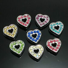 Heart Colorful Full Rhinestone Slide Charm fit 8MM Pet Name Collar belt Bracelet
