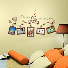 Love Birds Photo Frame Wall Stickers Removable Vinyl Decals Art Home Decor RP