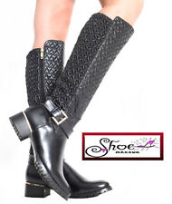 Ladies Womens Quilted Long Shoes Low Flat Heel Mid Calf Knee Winter Riding Boots