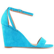 Wittner Ladies Shoes Blue Leather Wedges