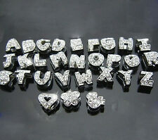 8mm Rhinestone Convex Alphabet Letter A-Z Slider Beads Charm Fit Belt Wristbands