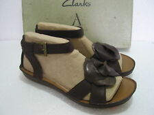 NEW CLARKS PURELY CRYSTAL COMFY LEATHER LOW WEDGE SANDALS SIZE 5 & 7