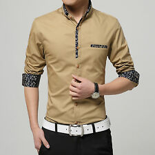 Mens T-Shirts Slim Tops Long sleeve Printing Dress Cotton Casual Shirts 5Colour