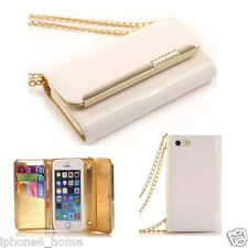 Patent Leather White Clutch-Handbag Folio Case +Chain For iPhone 6/6s & 6/6 Plus