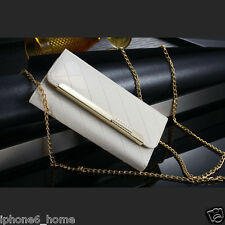 Patent Leather White Clutch-Handbag Folio Flip Case Cover +Chain For iPhone 6/6s