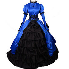 Adult Long Sleeve Blue Victorian Dress Gothic Lolita Halloween Party Ball Gown