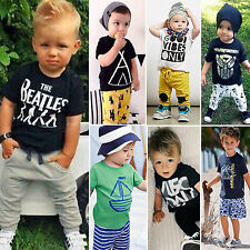 Kids Boy Baby Toddler Print T-shirt Shorts/Pants 2pcs Outfits Set Summer Clothes