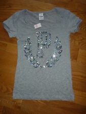 "VICTORIAS SECRET PINK BLING WREATH ""P"" ""PINK""  CUFFED SCOOPNECK TEESHIRT NWT"