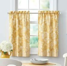 Yellow Country Jacobean Floral Stripe Kitchen Curtains Tiers or Valance Window