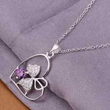 women's jewelry Necklace silver Silver plated Heart Purple Crystal-stone