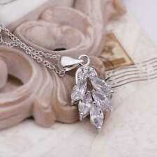 women's jewelry Necklace in silver Silver plated Crystal Leaf Leaves