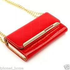 Patent Leather Red Clutch-Handbag Folio Flip Case Cover +Chain For iPhone 6/6s