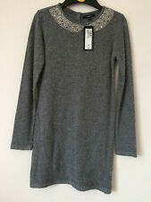 M&S Autograph Girls Wool Charcoal Grey dress beaded mock collar Ages 5-12 NEW