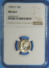 1950 S Silver Roosevelt Dime NGC Graded MS66+ Plus GEM Uncirculated