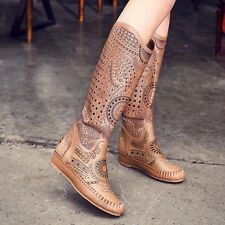 Women Bohemia Boots Flat Heel Hollow Out Sandal Knee High Roman Gladiator Shoes