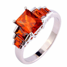 Emerald Cut Garnet Gemstone Silver Ring Fashion Women White Gold Plated Jewelry