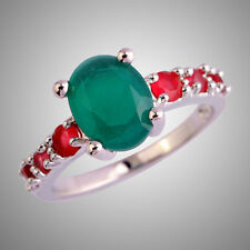 Retro Oval Cut Emerald & Ruby Spinel Gemstone Silver Ring Women Party Jewelry
