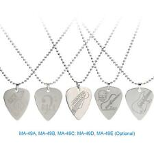 Stainless Steel Guitar Pick Necklace with 50cm/20in Ball Chain Durable O1M2