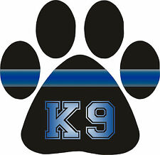 Thin Blue Line Decal -K9 Paw Print REFLECTIVE  free Ship