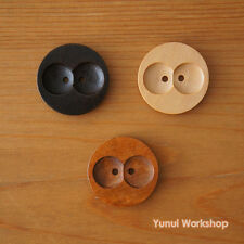 12pcs: Round Wood Coat Button 2 Holes Natural Brown Colors 30mm Deco Sewing DIY