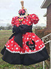 Minnie Mouse Applique DRESS NAME 12 18-24M 2T 3T 4 5 6 classic red  princess