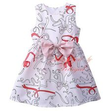 Kids Girls Summer Dress Princess Party Bow Printed Kids Clothes Age 3-8 Years