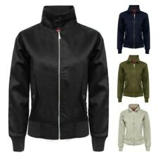 LADIES MA1 COTTON TWILL LIGHTWEIGHT WOMENS CANVAS CROPPED BOMBER JACKET COAT TOP