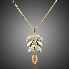 women's jewelry Gold plated Leaf amber colours Crystal rhinestones Necklace