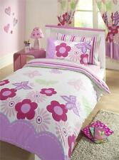DUVET COVER BED SETS NEW GIRLS PINK & LILAC FLOWER BEDDING & CURTAINS