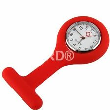 RED Silicone Nurse Fob Watch Brooch Tunic watch With + Free Battery UK SELLER