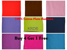 Multi Colour 100% Cotton Plain Bandanna Cow Boy Girl Biker Neck Scarf Bandana