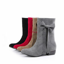 New Women Round Head Rubber Soles Low Heel Shoes Mid Calf Boots AU All Sz TB1432