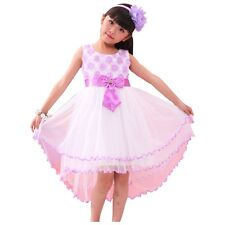 Girls Dress  Flower Tulle Long Tail Party Pageant Wedding Kids Clothes SZ 4-12Y