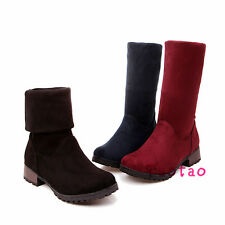 Women's Concise Mid Calf Pure Color Skid Proof Low Heel Shoes AU All Size TB1366