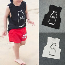 Hot Toddler Sleeveless Vest Crew Neck Tee Shirt Boy Girl Casual Cotton Tops BGO
