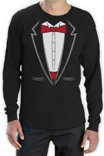 Printed Suit & Tie Tuxedo Red Bow Tie Bachelor Party Long Sleeve T-Shirt Gift