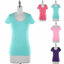 Basic T Shirt Scoop Neck Short Sleeve Cotton Polyester Casual Easy Wear S M L