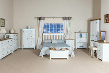 Wardrobe,Chest Drawers Bedsides, Beds New Capri White Painted Bedroom Furniture