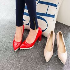 Sexy Womens Patent Leathe High Block Heel Platform Pumps Pointed Party Shoes