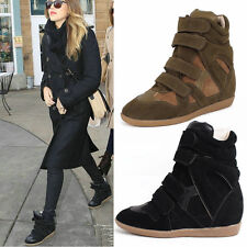 Womens Shoes Velcro Hi Top Fashion Wedge Sneaker Shoes High Heel Ankle Boots New