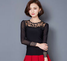 Elegant Womens Spring Summer Loose Lace Tops Long Sleeve Casual Shirts Blouses