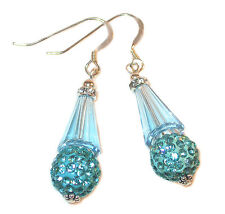 TEAL AQUAMARINE Crystal Earrings Silver Artemis Disco Ball Swarovski Elements