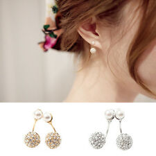 1 Pair Round Ball Rhinestone Crystal Imitation Pearl Ear Studs Earrings 3GE